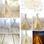 Il vous suffira d'un simple drap, un peu de corde et 6 tiges de bois d'environ 1 mètre 50...