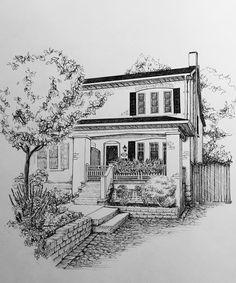 Custom pen and ink drawings by BlackDogArtShop Shading Drawing, Pop Art Drawing, Pencil Art Drawings, Cool Art Drawings, Art Drawings Sketches, Pencil Sketches Landscape, Landscape Drawings, Landscape Paintings, Art Deco Wall Art