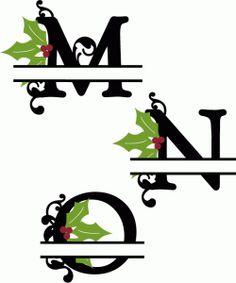 Silhouette Design Store - View Design #68409: holly split monograms m-o