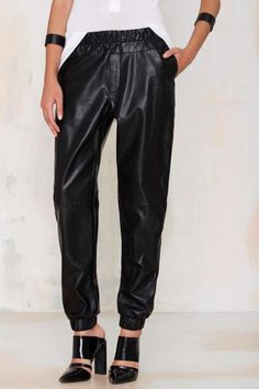 Nasty Gal Run with It Vegan Leather Jogger Pants