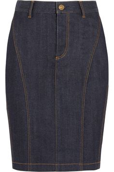 Burberry Brit Stretch-Denim Pencil Skirt, $275; net-a-porter.com     - ELLE.com
