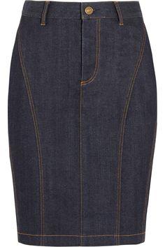 Burberry Brit Stretch-Denim Pencil Skirt, $275; net-a-porter.com     - ELLE.com