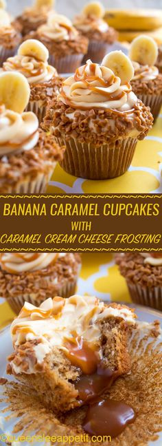 Banana Caramel Cupcakes are moist, fluffy, tender and have the most perfect banana flavour! Filled with homemade caramel sauce, rolled in toffee bits and topped with Caramel Cream Cheese Frosting — these cupcakes will have your taste buds going crazy! Brownie Desserts, Just Desserts, Dessert Recipes, Health Desserts, Bon Dessert, Oreo Dessert, Food Cakes, Cupcake Cakes, Cup Cakes