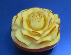 Carving Rose Art Apple-從水果雕花-Rose schnitzen aus Apfel-Cách tỉa hoa từ qu...