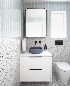Shop Instagram - Tile Cloud Concrete Look Tile, Concrete Basin, Concrete Bathroom, Coloured Grout, Ensuite Bathrooms, Blue Tiles, Splashback, Terrazzo, Wall Tiles