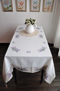 Lavender Embroidered Tablecloths size 59X87 by TableclothShop