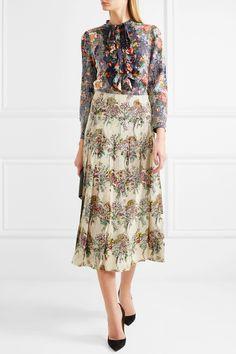 Gucci | Josephine embellished floral-print silk-chiffon shirt | NET-A-PORTER.COM