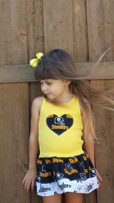 Pittsburgh Steelers, Dress for my pretty girl Pittsburgh Steelers Football, Football Baby, Steelers Merchandise, Steeler Nation, Cute Girl Outfits, American Football, Black N Yellow, Cute Girls, Steelers Stuff