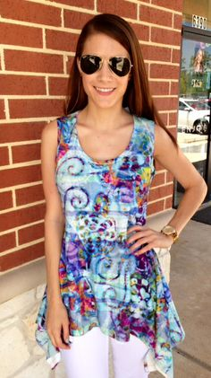 WATERCOLOR PRINT TOP!!! Flowy hemline in a comfortable tank style make this an easy-to-wear top this summer!! Szs: S-XL; $58