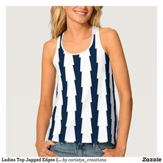 Ladies Top Jagged Edges (Navy/White) Boat Fashion, Fashion 2020, White Tops, Navy And White, Fitness Wear Women, Travel Wear, Fitness Fashion, Fitness Clothing, Striped Tank Top
