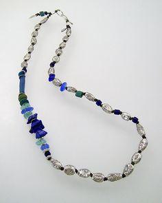 Now on SALE ... Urban Primitive Petite Ocean Muse:  fine silver, lapis nuggets, sea glass, Roman glass; kathy van kleeck