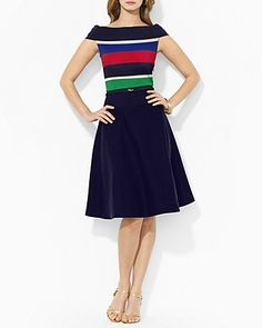 Lauren Ralph Lauren Off-Shoulder Color Block Dress | Bloomingdale's