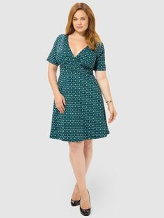 Work The Angle Dress In Aqua Geo Print by Poppy & Bloom,Available in sizes 0X-4X