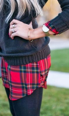 Plaid layers.