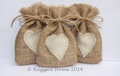 These are too cute . 10 x Burlap Hessian Bags with Linen Applique Heart for Wedding Favours - CUSTOM ORDERS AVAILABLE on Etsy, $18.94 AUD