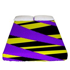 Abstract triangles, three color dotted pattern, purple, yellow, black in saturated colors Fitted Sheet (Queen Size) Purple Yellow, Yellow Black, Saturated Color, Bed Sizes, Queen Size, Triangles, Creative Design, Duvet Covers, Bedding