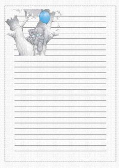 ♥Tatty Teddy♥ Up a tree. Printable Lined Paper, Free Printable Stationery, Papel Vintage, Vintage Paper, Journal Paper, Journal Cards, Sarah Kay, Pocket Letter, Blue Nose Friends