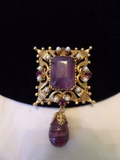 FLORENZA Brooch Purple Glass Faux Pearl Rhinestone Gold Plate Baroque Pendant Pin by AnnesGlitterBug on Etsy