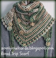 Road Trip Scarves:   Pattern Love the Zooty Owl blog spot - Fabulous Cro ideas & lovely colours - go and visit for lots of cro eye candy. .