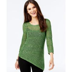 Inc International Concepts Crochet-Sequin Asymmetrical Sweater ($50) ❤ liked on Polyvore featuring tops, sweaters, willow bough, macrame top, inc international concepts, inc international concepts sweater, sequin top and crochet top