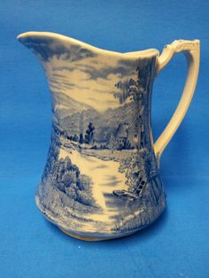 Alfred Meakin Tintern Pictorial Blue White Small Pitcher Creamer