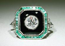 Simply Amazing Platinum Art Deco Diamond Onyx and Emerald Ring