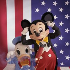 Fireworks are a daily spectacular at Walt Disney World Resort. In July 1992, Donald and Mickey joined in the fireworks fun for an All-American Salute.