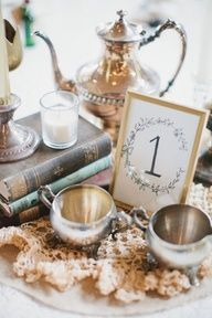 Vintage Centerpiece with books + silver