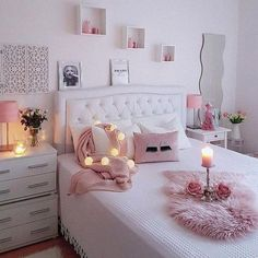 43 cute and girly bedroom decorating tips for girl 8 Girl Bedroom Designs Bedroom Cute Decorating Girl Girly tips Bedroom Decor For Teen Girls, Cute Bedroom Ideas, Cute Room Decor, Girl Bedroom Designs, Trendy Bedroom, Cozy Bedroom, Bedroom Romantic, White Bedroom, Bedroom Simple