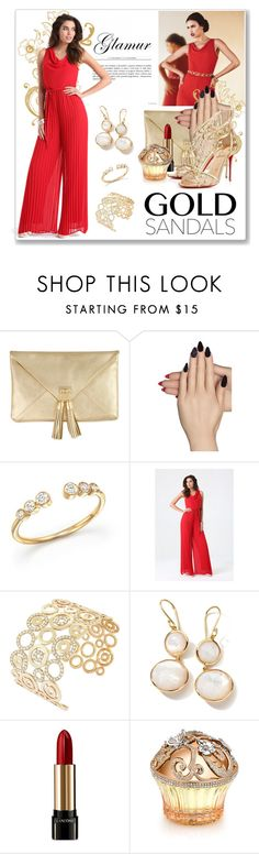 """Micro Trend: Solid Gold Sandals (Look 3)"" by dressedbyrose ❤ liked on Polyvore featuring Static Nails, Bloomingdale's, Bebe, Ippolita, Lancôme, House of Sillage and goldsandals"