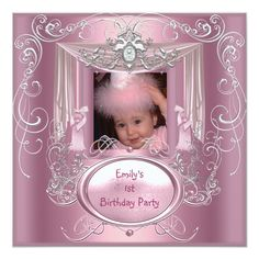 First Birthday Party Girl Pink Silver Star Custom Announcement online after you search a lot for where to buyDealslowest price Fast Shipping and save your money Now! 1st Birthday Invitations Girl, Baby Girl 1st Birthday, Bachelorette Party Invitations, Quinceanera Invitations, Sixteenth Birthday, 15th Birthday, First Birthday Parties, First Birthdays, Birthday Ideas