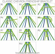 This photo shows step by step how to make a Chevron type bracelet. This type is one of my favorites.