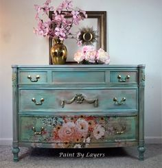 but i can recreate a similar look on a Dresser just for you. contact me for details Funky Painted Furniture, Recycled Furniture, Refurbished Furniture, Paint Furniture, Vintage Furniture, Furniture Decor, Furniture Design, Hutch Furniture, Painted Dressers