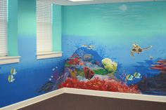 I like that it's not too dark The Barkalows: ocean mural Ocean Bedroom Kids, Sea Nursery, Ocean Room, Sea Murals, Ocean Mural, Kids Room Murals, Murals For Kids, Mural Wall Art, Mural Painting