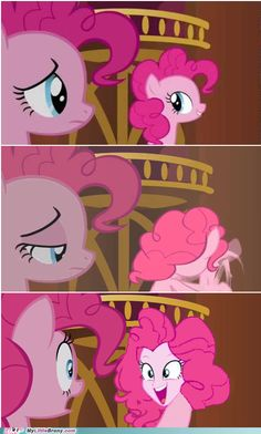 """""""too many pinkies"""" scroll to this part and hit play . The face the clone pinkie makes is a reference to the toy ponies . THE WRITERS ARE TROLLING US ."""