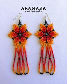 Mexican earrings Flower Earrings Mexican folk art Native | Etsy The Snake, Seed Bead Earrings, Flower Earrings, Beaded Earrings, Beaded Jewelry, Huichol Art, Native American Earrings, Mexican Jewelry, Native Beadwork