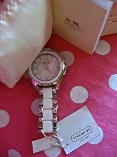 New Coach Boyfriend White Silver Bracelet Silicon Rubber Steel Strap Watch   eBay