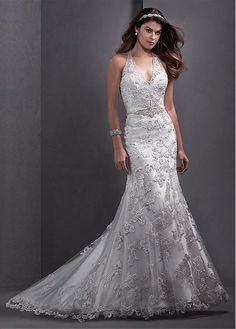 Glamorous Tulle Halter Neckline Natural Waistline Mermaid Wedding Dress With Lace Appliques
