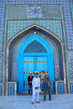 Outside the Blue Mosque in Afghanistan