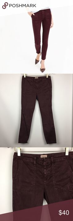 J. CREW Skinny Stretch Plum Cargo Pants \\ Sz 26 J. CREW Skinny Stretch Cargo Pants  Size 26  Plum purple  Gently preowned with no flaws   Cotton/Lyocell blend   14.5 inches across waist  8 inch rise  27.5 inch inseam  5.5 inch leg opening J. Crew Pants Skinny
