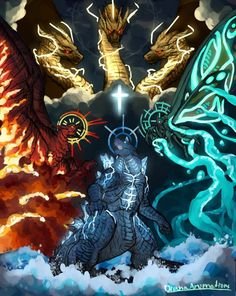 Godzilla King of the Monsters: Fist of the Titans by on DeviantArt All Godzilla Monsters, Godzilla Comics, Cool Monsters, Godzilla Godzilla, Fantasy Creatures, Mythical Creatures, Godzilla Franchise, Godzilla Wallpaper, Rukia Bleach