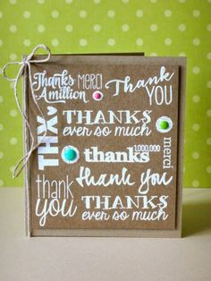 thank you card by Donna Mikasa... love the white on kraft