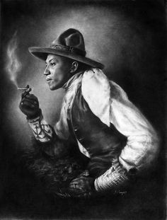 Old West Showman  Drawn in charcoal. Performer in Pawnee Bill's Wild West Show; a rival of Buffalo Bill.