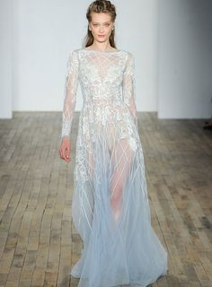 See our favorite colored wedding dresses from the best bridal designers—from red wedding dresses to pink wedding dresses to black wedding dresses! 2018 Wedding Dresses Trends, Colored Wedding Dresses, Best Wedding Dresses, Wedding Gowns, Bridesmaid Dresses, Long Sleeve Wedding, Wedding Dress Sleeves, Hayley Paige Bridal, Fairy Wedding Dress