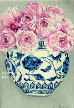 Itty Bitty Bits of Pretty  English Roses in a by studiolara316 #blueandwhite #blue #white #ginger #jar #roses #floral #pink