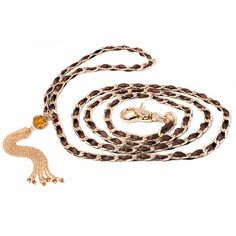Fabuleash - Show Dog Leashes - 1/2 Price, Only $17.50! They feature a beautiful ribbon through the chain design with a stunning jeweled tassel. 48 in long. Available in three colors: Brown, Pink, and Black #dogs #leash