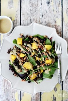 Clean Eating Blueberry Mango Salad with Tahini Ginger Dressing and it's vegetarian, gluten-free, dairy-free and paleo-friendly | The Healthy Family and Home