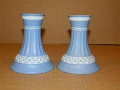 "Pair Blue Jasperware 4 1/4"" Candle Sticks Lace Design Vintage"