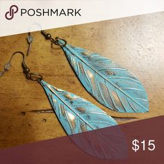 Leaf Earrings Gorgeous Turquoise and bronze leaf earrings. Jewelry Earrings