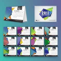 Calendar Template With Polygonal Shapes - FREE